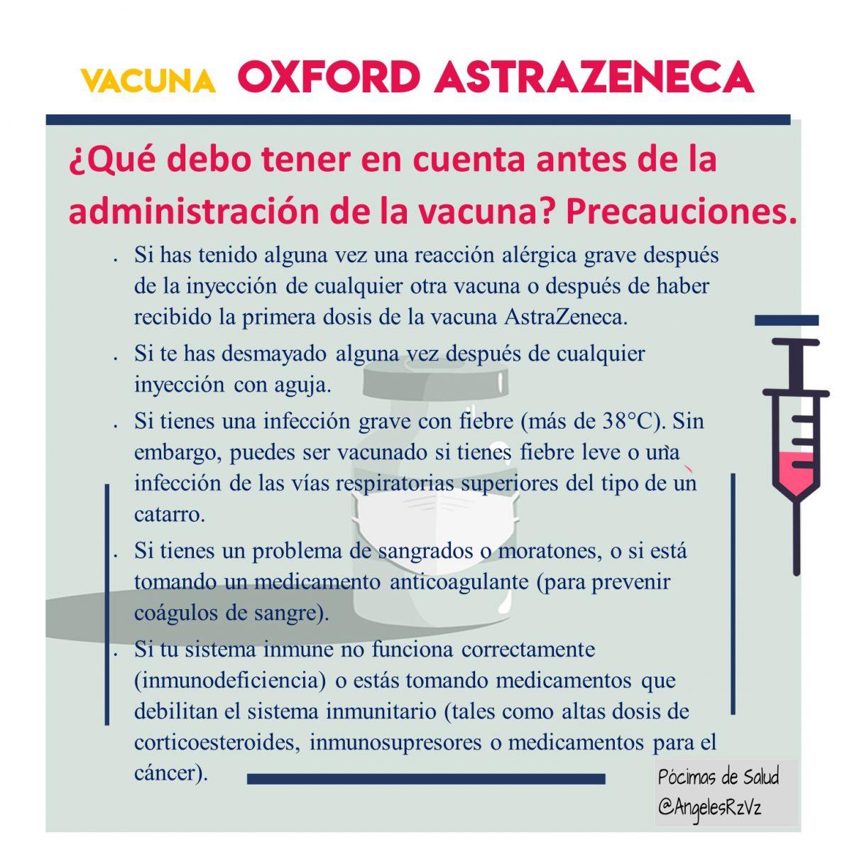 Precauciones vacuna AstraZeneca